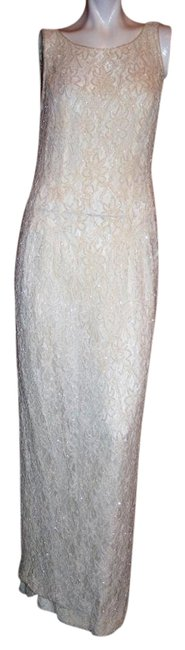 Item - White Lace Beads and Sequin Maxi Sleeveless Long Formal Dress Size 12 (L)