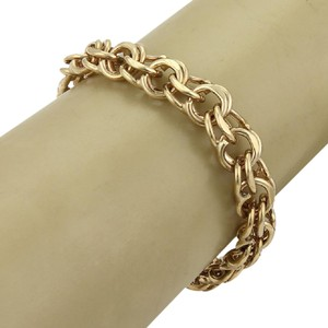 Modern Vintage 14k Yellow Gold 11mm Wide Double Round Chain Link Bracelet