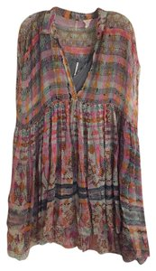 Free People short dress Multicolor Slip Tunic Festival Eclectic Artsy on Tradesy