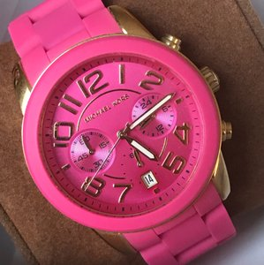 Michael Kors Michael Kors Pink Dial Pink Silicone Wrapped Steel Ladies Watch
