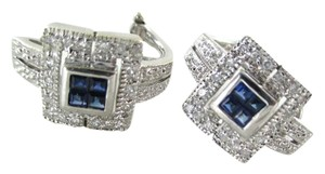 Other 14KT WHITE GOLD EARRINGS FINE JEWELRY SAPPHIRE 36 DIAMONDS .36 CARAT 7