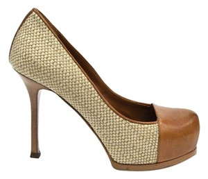 YSL St Laurent Leather Tweed Cap Toe Almond Natural Pumps