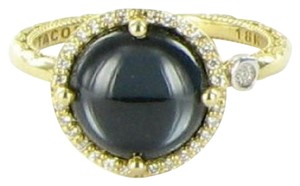 Tacori 18k925 Golden Bay Ring 0.13cts Diamonds Round Blue Topaz Hematite