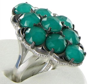 Tacori 18k925 Ring Sz 7 54 City Lights Gem Cluster Green Onyx Clear Quartz