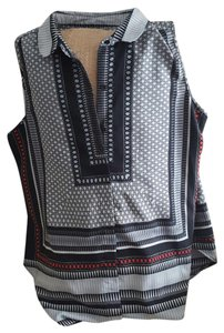 Antilia Femme Button Down Shirt Black white grey red pattern