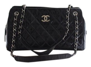 Chanel Vintage Leather Carryall Tote in Black