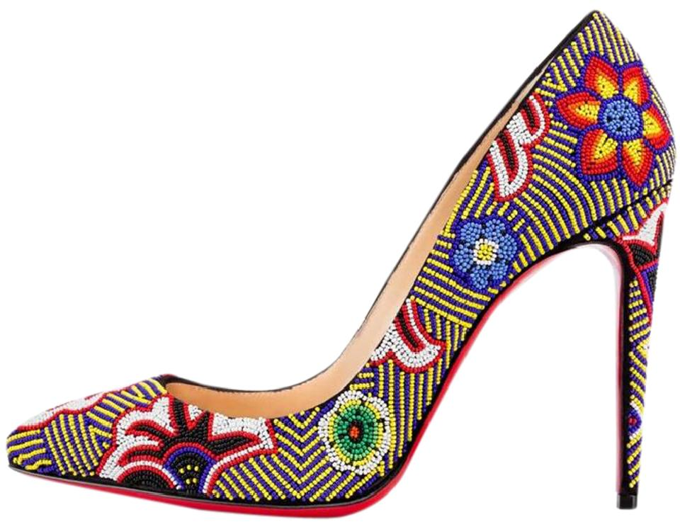 e056c152acc2 Christian Louboutin Multicolor Miss Taos Beaded Jeweled Floral Flower Pumps