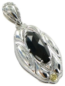 Tacori 18k925 Pendant Classic Rock Engraved Marquise Onyx Sterling Silver