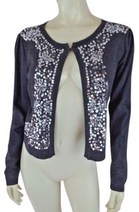 INC International Concepts Cropped Stretch Petite Sequins Embroidery Sweater