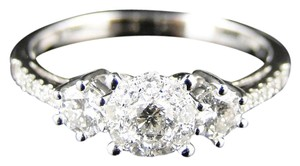 Other 14K White Gold Round Cut Engagement Diamond 3 Stone Ring 3/4 Ct