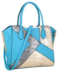 Anais Gvani Bags Hippie Boho The Treasured Hippie Large Handbags Affordable Satchel in Turquoise/ Pewter Gold