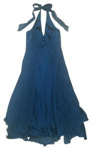 Donna Ricco Jeweltone Chiffon Satin Halter Blue Dress