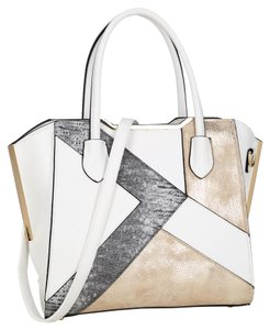 Anais Gvani Bags The Treasured Hippie Large Handbags Designer Inspired Vintage Affordable Satchel in White/ Pewter Gold