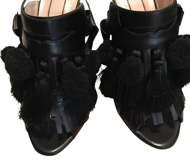 Item - Black Pom Pom Tassle Sandals Mules/Slides Size US 10 Regular (M, B)