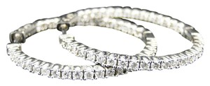 Other 14K White Gold Round Diamond In and Out Hoops Earrings 2 Ct
