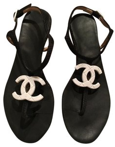 Chanel Interlocking Cc Perforated T Strap Cc Black and White Sandals