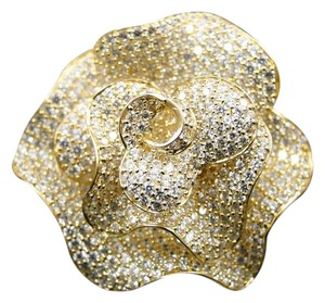 Other 10K Solid Yellow Gold Simulated Diamond Flower Designer Fashion Ring