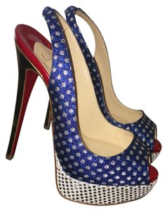 65c22d7c42e Christian Louboutin Blue Silver White Gold &a Red Miss America 150  Slingback Platforms Size US 5 Regular (M, B) 51% off retail