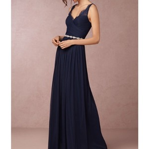 BHLDN Navy Blue Tulle and Polyester Lining Fleur Feminine Bridesmaid/Mob Dress Size 4 (S)