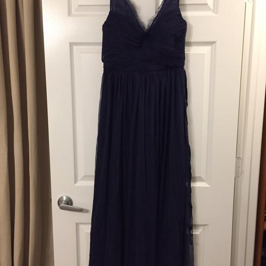 BHLDN Navy Blue Tulle and Polyester Lining Fleur Feminine Bridesmaid/Mob Dress Size 4 (S) Image 2