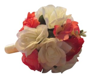 Cream White & Bright Coral Bride Bouquet*maid Of Honer Bouquet*2 Boutonerries*corsage Other