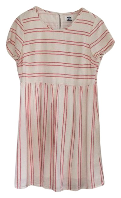 Item - Beige/Red Stripped Short Casual Dress Size 4 (S)