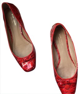 Kate Spade Red patent pearl crocco print Flats