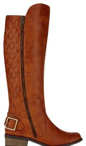Arizona Jean Company Quilted Knee High Riding Equestrian Cognac Boots
