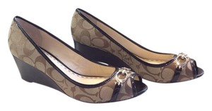 Coach Leather Gold Hardware Spring Summer Insignia Brown, Khaki Wedges