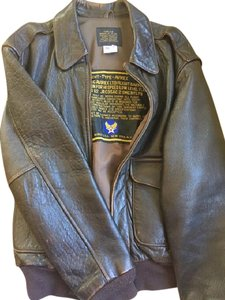 AVIREX Leather Bomber Jacket Military Jacket