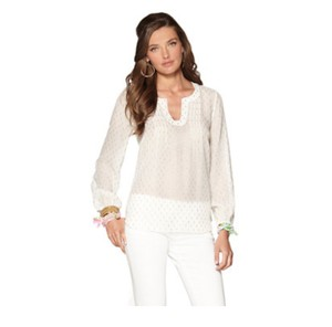 Lilly Pulitzer Lilly Silk Lilly Silk Gold Top white.