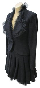 Chanel CHANEL 02 Rare Black & Blue Wool Pleated Skirt (38) &Jacket (40)