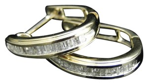 Other 10K Yellow Gold Baguette Diamond Hoops Huggies Earrings 15MM 1/4Ct