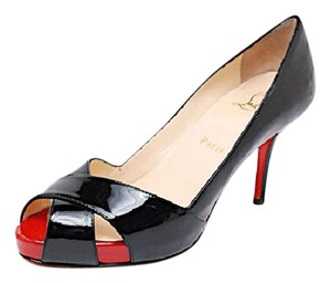 Christian Louboutin Louboutin Easter Spring Shelley Jazz Leather Black Patent w/Red Platform Pumps