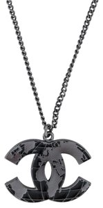 Chanel World Globe Map CC Logo Textured Pendant 13K Chain Link Grey Necklace