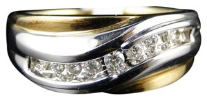 Other 14K Mens Two Tone Diamond Wedding Anniversary Band Ring 9.5Mm