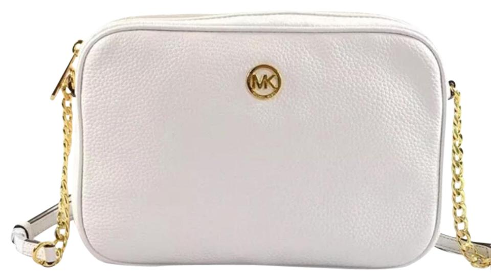 09457e91f8 Michael Kors New Mk Fulton Large Ew Style  35h5gftc7l Optic White Leather  Cross Body Bag