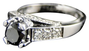 Other 14K White Gold Black Diamond Round Cut Solitaire Engagement Ring