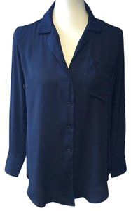 Brandy Melville Classic One Size Collared Sheer Top blue