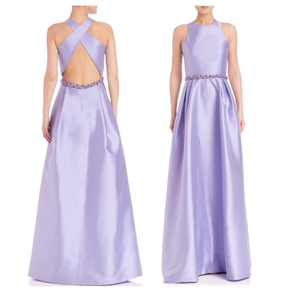 Monique Lhuillier Lilac/Purple Embellished Cross-back Jadore Gown ...