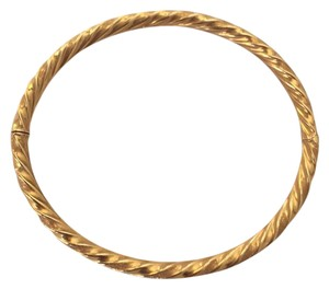 Other 14k gold twisted elliptical hinged bangle bracelet