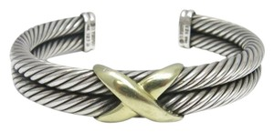 David Yurman Double Row Cable Bracelet with Gold X