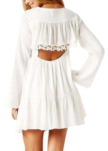 Free People short dress White Fp Swingy Tunic Raw Floral Mesh Boho Festival Chic Bell Sleeve Ruffle Gentle Lace on Tradesy