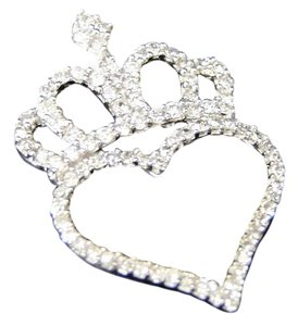 Other 10K White Gold Diamond Love Crown Top Heart Pendant Charm .33 Ct