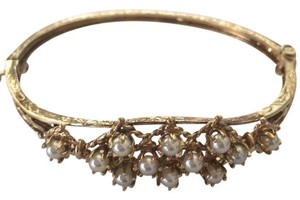 Other 14k gold cultured pearl bar pin on Victorian bracelet