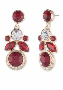 Givenchy Gold-Tone Swarovski Element Red Drop Earrings