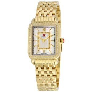Michele NEW Deco II Mid-Size Diamond Gold MOP Dial MWW06I000007 Ladies Watch