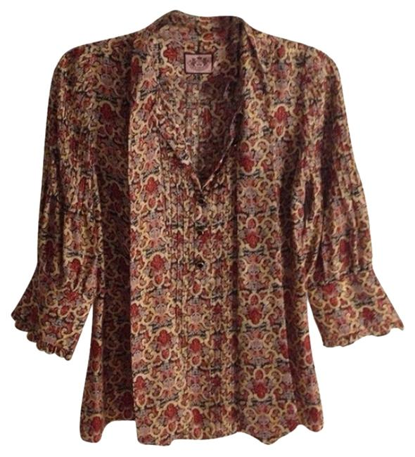 Juicy Couture Silk Embellished Gold Gold Hardware Top Paisley