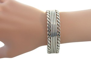 Other Chain Texture Cuff Bracelet- Sterling Silver