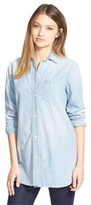 Madewell Boyfriend Denim Chambray Button Down Shirt Buckely Wash